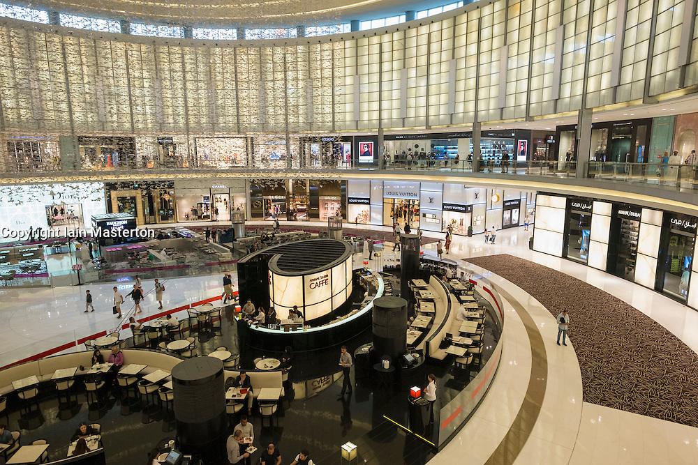 Interior of fashion Avenue atrium at Dubai Mall United Arab Emirates