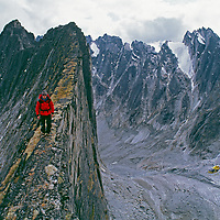 A helicopter flies below a mountaineer in the Cirque of the Unclimbables.