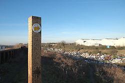 A public footpath blocked by a huge fly tip in Purfleet, Essex