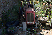 small tractor in a dilapidated state