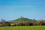 Monument of historic site Burrow Mump hill and ruins of ancient St Michael's Church Grade II listed at Burrowbridge, Somerset, UK