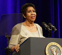Aretha Franklin sings at the portrait unveiling ceremony for outgoing U.S. Attorney General Eric Holder at The Department of Justice in Washington, DC, USA, February 27, 2015. Photo by Chris Kleponis/Pool/ABACAPRESS.COM