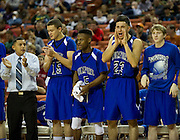 The Mumford bench cheers during the UIL 1A division 1 state championship game against Dallas Triple A Academy at the Frank Erwin Center in Austin on Friday, March 8, 2013. (Cooper Neill/The Dallas Morning News)