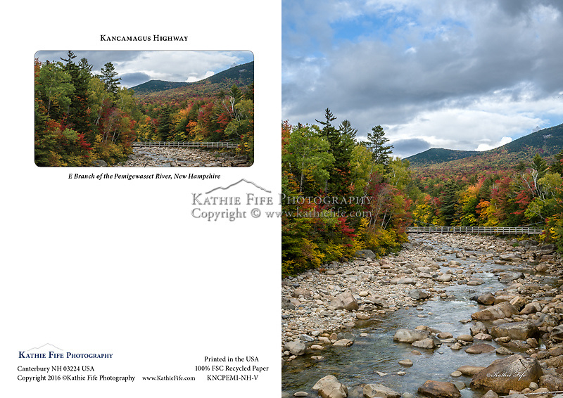 E Branch of the Pemigewasset River, Kancamagus Highway, Lincoln New Hampshire. 5x7 Greeting Card 100% Recycled Paper Made in USA