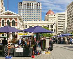 Oct 30, 2008 - Christchurch, South Island, New Zealand - Cathedral Square is regarded as the very centre of Christchurch. Entirely pedestrian-only it is the city's main meeting place and hosts a daily market selling a wide variety of merchandise. The domed building in background is the Christchurch and Canterbury Visitor Information Centre, which also houses the Southern Encounter Aquarium and Kiwi House.  (Credit Image: © Arnold Drapkin/ZUMA Press)