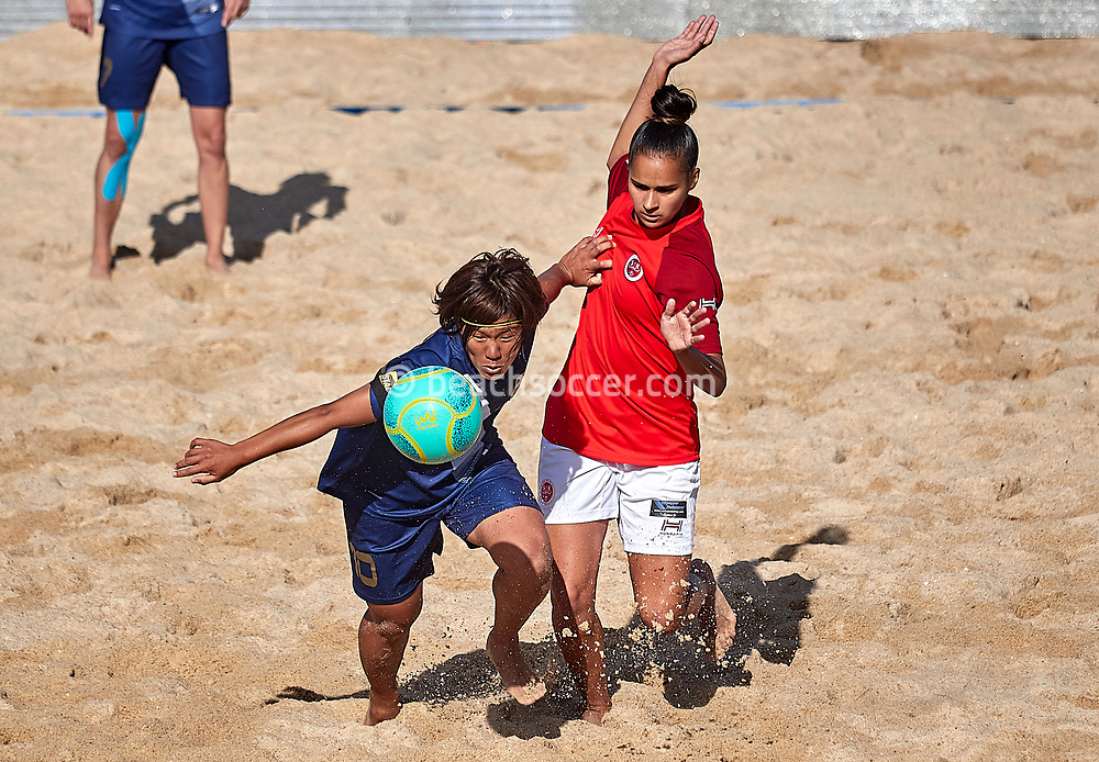 NAZARE, PORTUGAL - JUNE 7: Saki Kushiyama of Lady Grembach Lodz and Melissa Gomes of Stade de Reims during the Euro Winners Cup Nazaré 2019 at Nazaré Beach on June 7, 2019 in Nazaré, Portugal. (Photo by Jose M. Alvarez)