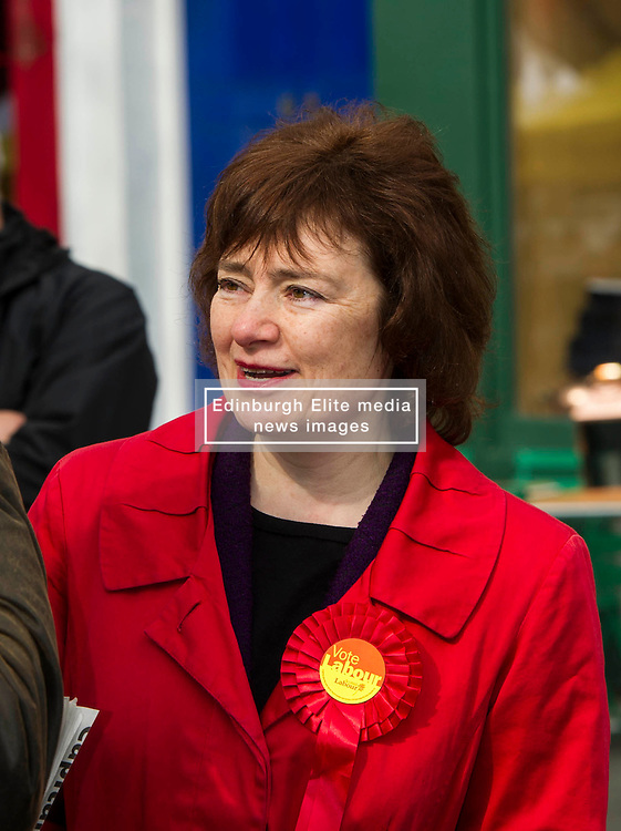 Pictured: Sarah Boyack<br /> <br /> Scottish Labour deputy leader Alex Rowley was joined by the party's environment spokeswoman Sarah Boyack and party activists at a farmers' market in the Grassmarket, Edinburgh today. <br /> <br /> Ger Harley   EEm 1 April 2016