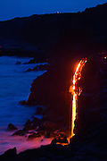 Lava into flowing into ocean, Hawaii Volcanoes National Park, Kilauea Volcano, Big Island of Hawaii