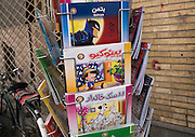 IRAN vs USA Love and Hate<br /> <br /> The United States and Iran have resumed their talks on a nuclear deal and the lifting of the embargo. But in the streets of Iran, there is still a lot of propaganda against the Americans, showing Obama as a traitor and U.S. Marines as murderers. At the same time, Iranian people increasingly appear to be adopting an American way of life, using iPhones, eating in fake KFCs, drinking Pepsi, and wearing Nike shoes.<br /> <br /> PHOTO SHOWS:   In Tehran, a man in a Mickey Mouse costume is trying to attract people to a baby shop. A shop in the Bandar Abbas bazaar selling carpets decorated with Minnie Mouse.Batman and Disney postcards for sale in a shop in Isfahan.<br /> ©eric lafforgue/Exclusivepix Media