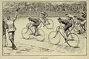 The last lap 19th century bicycle race from 'Cycling' by The right Hon. Earl of Albemarle, William Coutts Keppel, (1832-1894) and George Lacy Hillier (1856-1941); Joseph Pennell (1857-1926) Published by London and Bombay : Longmans, Green and co. in 1896. The Badminton Library