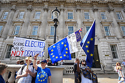 © Licensed to London News Pictures. 29/08/2019. LONDON, UK.  Anti-Brexit campaigners protest outside Cabinet Office the day after Boris Johnson, Britain's Prime Minister, announced the intention to suspend Parliament, under the mechanism of prorogation, in order to refine his Brexit plans.  Photo credit: Stephen Chung/LNP
