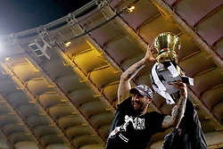 May 9, 2018 - Rome, Italy - Two Juventus supporters celebrate with the cup at Olimpico Stadium in Rome, Italy on May 9, 2017  during the TIM Cup Final between Juventus and AC Milan  (Credit Image: © Matteo Ciambelli/NurPhoto via ZUMA Press)