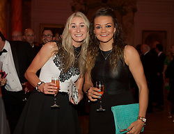 CARDIFF, WALES - Monday, October 5, 2015: Wales' Rhiannon Roberts and Nia Jones during the FAW Awards Dinner at Cardiff City Hall. (Pic by Ian Cook/Propaganda)