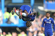 GOAL/CELE - Victor Moses of Chelsea celebrates after he scores his sides 3rd goal. Premier league match, Chelsea v Leicester city at Stamford Bridge in London on Saturday 15th October 2016.<br /> pic by John Patrick Fletcher, Andrew Orchard sports photography.