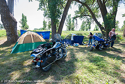 Marcy Linke of Omaha, NE and her husband Bryce Bo Bowman at the Glencoe Campground during the annual Sturgis Black Hills Motorcycle Rally. SD, USA. August 7, 2014.  Photography ©2014 Michael Lichter.