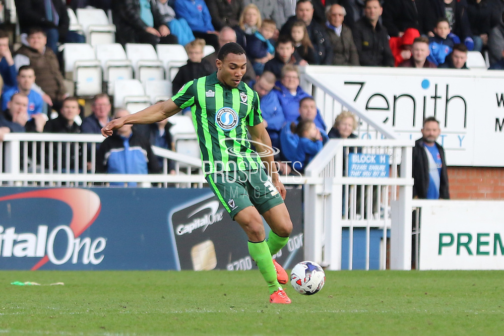 Darius Charles defender for AFC Wimbledon (32) during the Sky Bet League 2 match between Hartlepool United and AFC Wimbledon at Victoria Park, Hartlepool, England on 25 March 2016. Photo by Stuart Butcher.