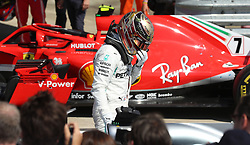 Mercedes' Lewis Hamilton after finishing in second place after the 2018 British Grand Prix at Silverstone Circuit, Towcester.