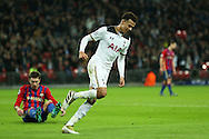 Dele Alli of Tottenham Hotspur celebrates after scoring his sides 1st goal to equalise at 1-1. UEFA Champions league match, group E, Tottenham Hotspur v CSKA Moscow at Wembley Stadium in London on Wednesday 7th December 2016.<br /> pic by John Patrick Fletcher, Andrew Orchard sports photography.