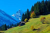The Gspaltenhorn in the Swiss Alps seen from Murren, Canton Bern, Switzerland