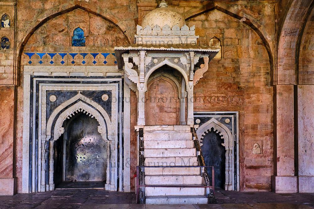 Inde, état du Madhya Pradesh, Mandu, mosquée Jama Masjid, construite en 1454 par Hoshang Shah, plus bel exemple d'architecture afghane en Inde // India, Madhya Pradesh state, Mandu, Jama Masjid Grand Mosque, built in 1454 by Hoshang Shah, the finest example of Afghan architecture in India