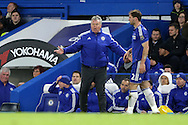 Guus Hiddink, the interim Chelsea manager shouting at his players from the touchline. Barclays Premier league match, Chelsea v Manchester Utd at Stamford Bridge in London on Sunday 7th February 2016.<br /> pic by John Patrick Fletcher, Andrew Orchard sports photography.
