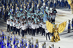 JAKARTA, Aug. 18, 2018  Delegation of Kazakhstan enters the Gelora Bung Karno (GBK) Main Stadium at the opening ceremony of the 18th Asian Games in Jakarta, Indonesia, Aug. 18, 2018. (Credit Image: © Pan Yulong/Xinhua via ZUMA Wire)
