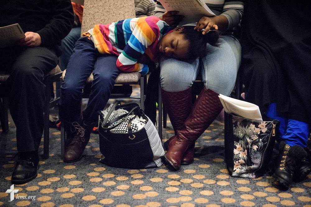 Ruth Tarley naps during worship on Friday, Jan. 27, 2017, in Arlington, Va. LCMS Communications/Erik M. Lunsford