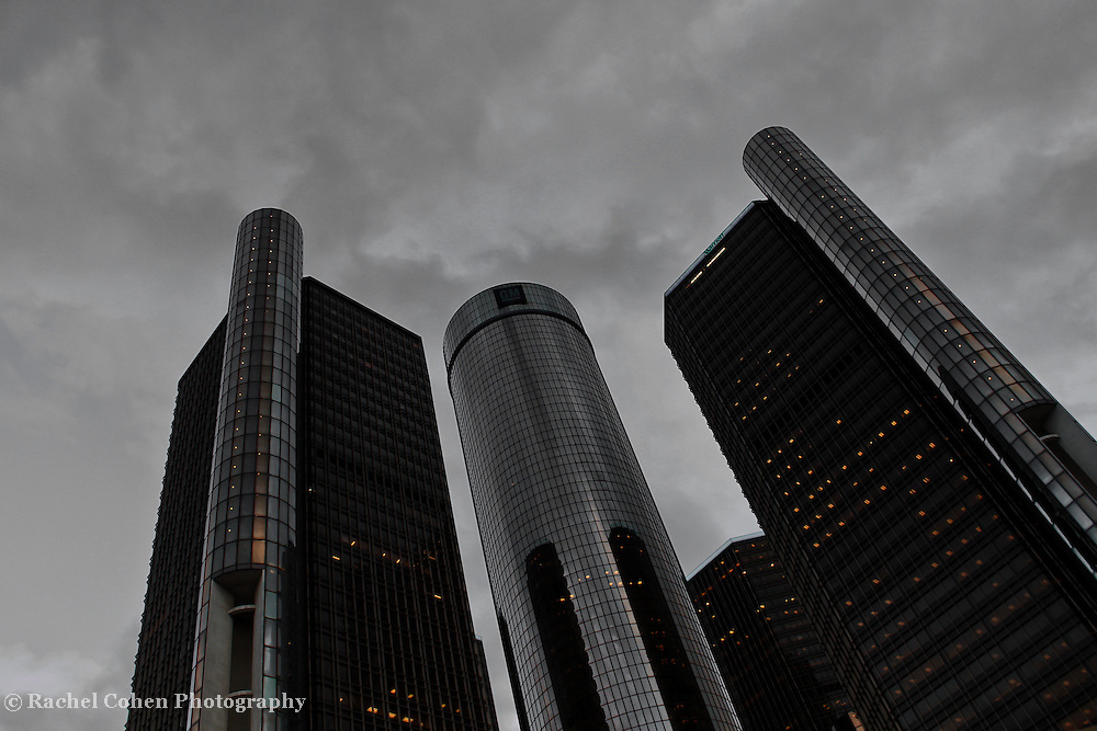"""""""The RenCen"""" 3<br /> <br /> A monochrome image of The GM Renaissance Center in Detroit Michigan. Only the lights in the buildings have color, and add glow!<br /> <br /> Detroit the city by Rachel Cohen"""