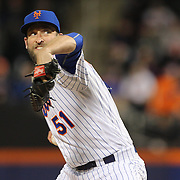 NEW YORK, NEW YORK - APRIL 12: Pitcher Jim Henderson, New York Mets, pitching during the Miami Marlins Vs New York Mets MLB regular season ball game at Citi Field on April 12, 2016 in New York City. (Photo by Tim Clayton/Corbis via Getty Images)