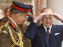 File photo dated 21/11/03 of The Duke of Edinburgh sharing a joke with General Sir Mike Jackson at the General's Corps Museum in Winchester. The Duke of Edinburgh was perhaps best known for his gaffes. He shocked and sometimes delighted the public with his outspoken remarks and clangers. Issue date: Friday April 4, 2021.