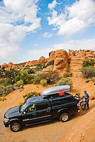 Getting ready to leave the campsite, Arches National Park, Utah.