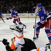 Ryan McDonagh, (right), New York Rangers, in action during the New York Rangers Vs Philadelphia Flyers, NHL regular season game at Madison Square Garden, New York, USA. 26th March 2014. Photo Tim Clayton
