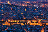 Le Louvre et La Basilique du Sacre-Coeur, Paris (Night)