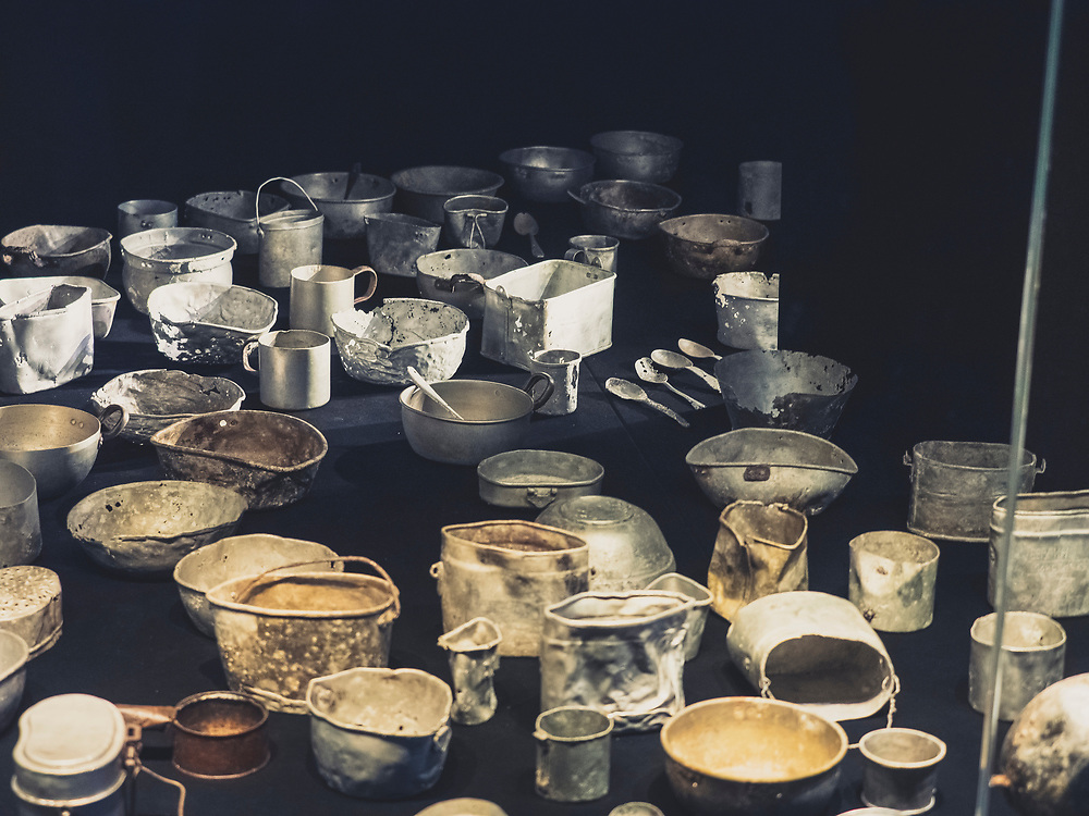 "Metal dishes used by the former prisoners of concentration camp, KZ Buchenwald"", Ettersberg, Weimar, Thueringen, Germany"