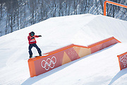Jamie Nicholls, Great Britain, during the snowboard slopestyle practice on the 8th February 2018 at Phoenix Snow Park for the Pyeongchang 2018 Winter Olympics in South Korea