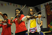 Machynlleth, Wales. 29th July, 2017. <br /> Young members of the ECCO (Ethnic Contemporary Classical Orchestra) participating in the instrumental workshop.<br /> Photographer; Kevin Hayes