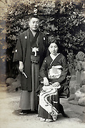 outdoor formal wedding photograph in traditional kimono  Japan 1940s