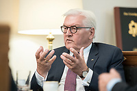 02 JUL 2018, BERLIN/GERMANY:<br /> Frank-Walter Steinmeier, Bundespraesident, waehrend einem Interview, Amtszimmer des Bundespraesidenten, Schloss Bellevue<br /> IMAGE: 20180702-01-043<br /> KEYWORDS: Bundespräsident