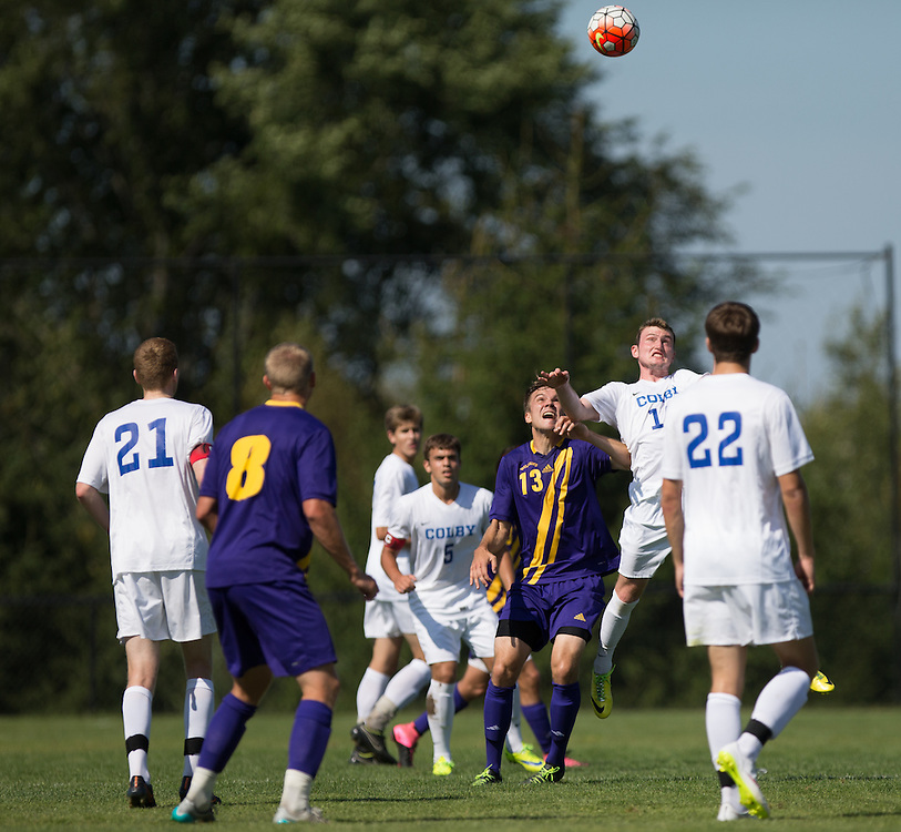 Fred Randall of Colby College jumps for a header during a NCAA Division III soccer game against Williams College on September 19, 2015 in Waterville, ME. (Dustin Satloff/Colby College Athletics)