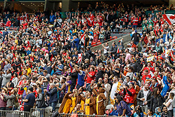 March 10, 2018 - Vancouver, British Columbia, U.S. - VANCOUVER, BC - MARCH 10: Happy Canadian crowd during Game # 7- Australia vs Canada Pool A match at the Canada Sevens held March 10-11, 2018 in BC Place Stadium in Vancouver, BC. (Photo by Allan Hamilton/Icon Sportswire) (Credit Image: © Allan Hamilton/Icon SMI via ZUMA Press)