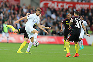 Fernando Llorente of Swansea city © in action. Premier league match, Swansea city v Manchester city at the Liberty Stadium in Swansea, South Wales on Saturday 24th September 2016.<br /> pic by Andrew Orchard, Andrew Orchard sports photography.