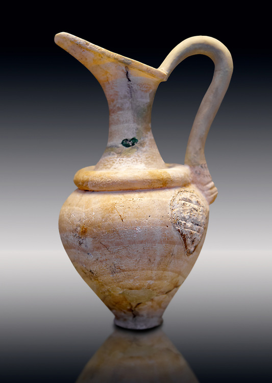 Alabaster jug possibly imported from Minoan Crete.   Mycenae graves, Greece. 15th century BC,  National Archaeological Museum, Athens. .<br /> <br /> If you prefer to buy from our ALAMY PHOTO LIBRARY  Collection visit : https://www.alamy.com/portfolio/paul-williams-funkystock/mycenaean-art-artefacts.html . Type -   Athens    - into the LOWER SEARCH WITHIN GALLERY box. Refine search by adding background colour, place, museum etc<br /> <br /> Visit our MYCENAEN ART PHOTO COLLECTIONS for more photos to download  as wall art prints https://funkystock.photoshelter.com/gallery-collection/Pictures-Images-of-Ancient-Mycenaean-Art-Artefacts-Archaeology-Sites/C0000xRC5WLQcbhQ