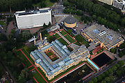 Nederland, Zuid-Holland, Den Haag, 15-07-2012; De Stadhouderslaan met het gele Gemeentemuseum (Berlage) en het Omniversum. The Gemeentemuseum and Omniversum (yellow buildings) . luchtfoto (toeslag), aerial photo (additional fee required)<br /> foto/photo Siebe Swart