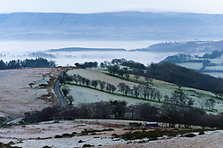 © Licensed to London News Pictures. 17/12/2019. Builth Wells, Powys, UK. Frosty landscape on the Mynydd Epynt range near Builth Wells in Powys after temperatures dropped  to below freezing last night. Photo credit: Graham M. Lawrence/LNP