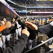 NEW YORK, NEW YORK - APRIL 11: Manager Don Mattingly, (center, right), Miami Marlins and team mates congratulate Chris Johnson, (right), on scoring a run as he returns to the dugout during the Miami Marlins Vs New York Mets MLB regular season ball game at Citi Field on April 11, 2016 in New York City. (Photo by Tim Clayton/Corbis via Getty Images)