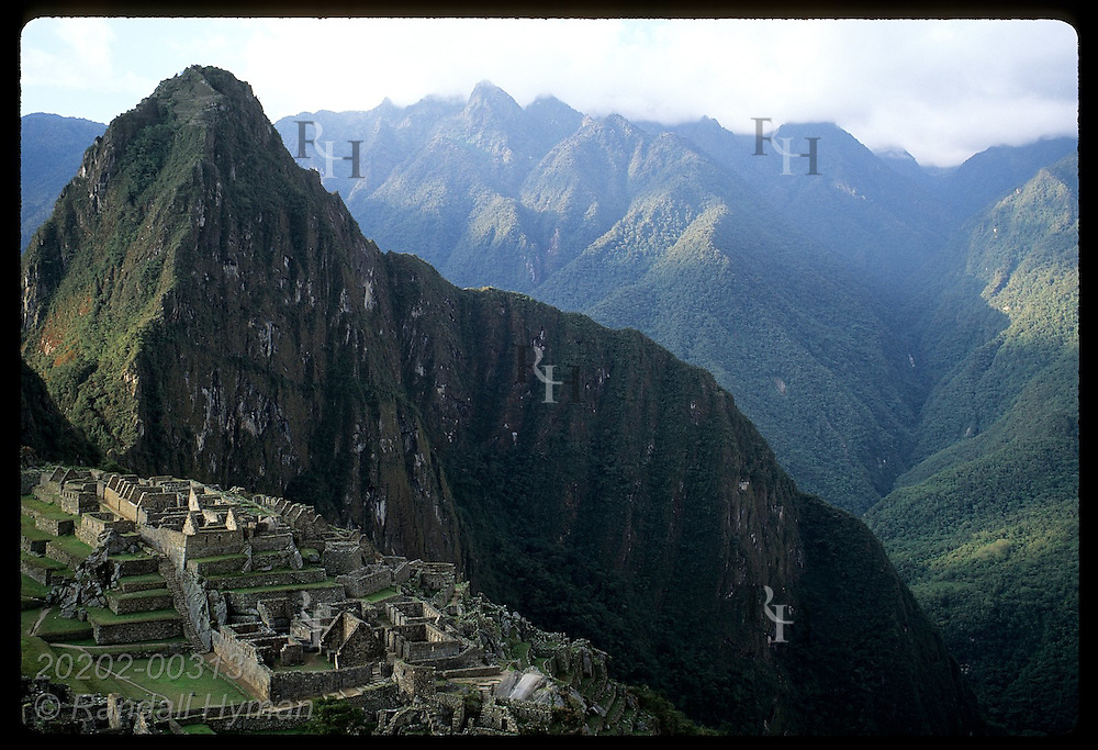 Afternoon sun hits urban sector of ancient city beneath sacred peak Huayna Picchu; Machu Picchu Peru