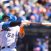 NEW YORK, NEW YORK - APRIL 13: Yoenis Cespedes, New York Mets, batting during the Miami Marlins Vs New York Mets MLB regular season ball game at Citi Field on April 13, 2016 in New York City. (Photo by Tim Clayton/Corbis via Getty Images)