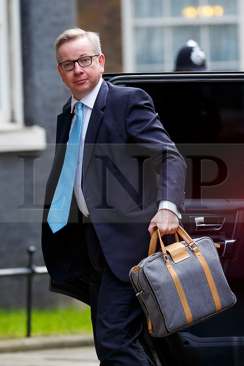© Licensed to London News Pictures. 20/02/2016. London, UK. Justice Secretary MICHAEL GOVE attending a cabinet meeting in Downing Street on Saturday, 20 February 2016 after a deal made on the UK's EU membership in Brussels. Photo credit: Tolga Akmen/LNP