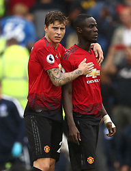 Manchester United's Victor Lindelof (left) and Manchester United's Eric Bailly appear dejected after the final whistle