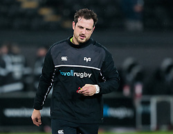 Ospreys' Dan Evans during the pre match warm up<br /> <br /> Photographer Simon King/Replay Images<br /> <br /> European Rugby Champions Cup Round 5 - Ospreys v Saracens - Saturday 13th January 2018 - Liberty Stadium - Swansea<br /> <br /> World Copyright © Replay Images . All rights reserved. info@replayimages.co.uk - http://replayimages.co.uk